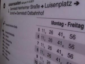 Fahrplan einer Haltestelle in Darmstadt - City-Ticket